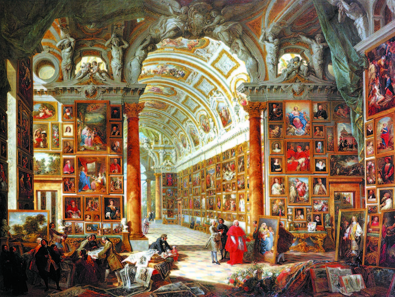 Giovanni Paolo Pannini, Interior of a Picture Gallery with the Collection of Cardinal Silvio Valenti Gonzaga - 1740, Wadsworth Atheneum, Hartford