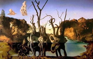 Salvador Dalì, Cigni che riflettono elefanti, 1948, Collezione privata  Ode agli Elefanti Surreali(sti)