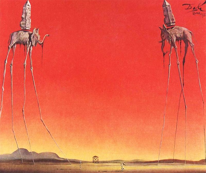 Salvador Dalì, Gli Elefanti, 1948, Collezione Privata  Ode agli Elefanti Surreali(sti)