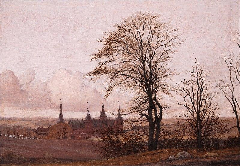 """Christen Købke, """"Castello di Frederiksborg da media distanza"""" 1837-38, Collezione Privata"""