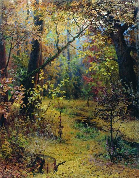 """Grigoriy Myasoyedov, """"Осеннее утро -  Mattinata Autunnale"""", 1893, Collezione Privata"""