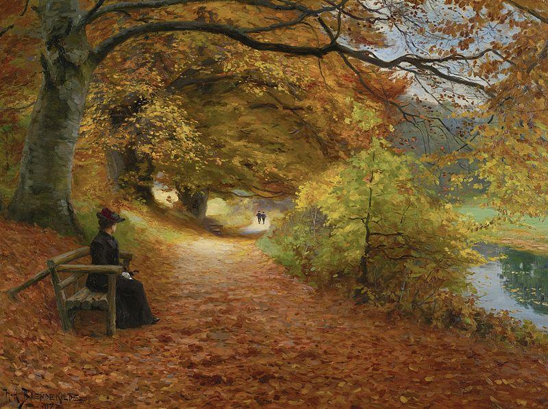 """H. A. Brendekilde, """"Sentiero boscoso in autunno"""", 1902, Collezione privata"""