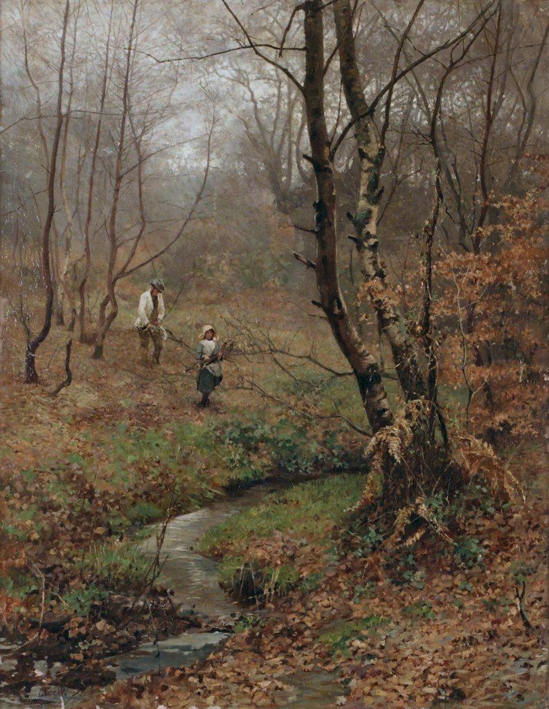 """John MacWhirer, """"Paesaggio autunnale con due persone"""", collezione privata"""