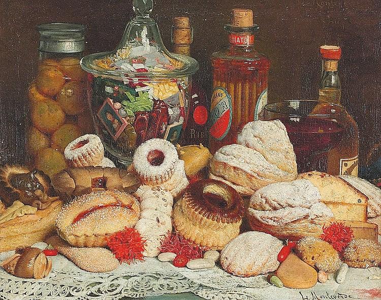 """Luigi Monteverde, """"Natura morta con dolci e biscotti"""", 1884, Collezione Privata"""