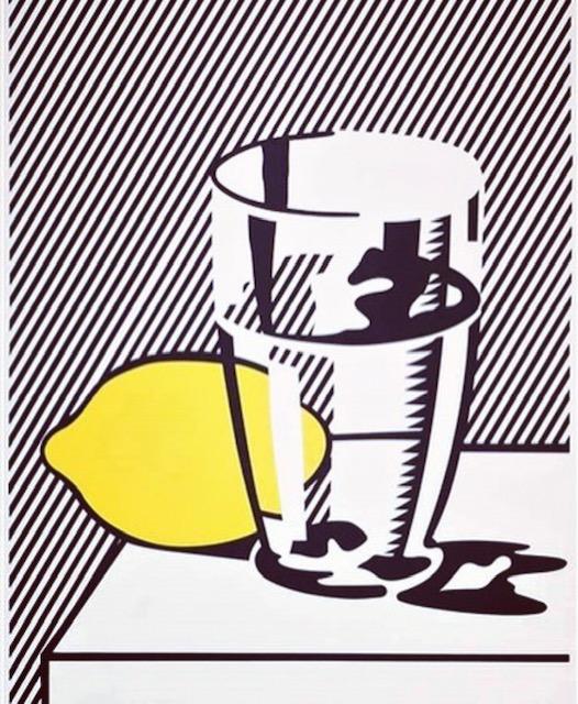 """Roy Lichtenstein, """"Senza Titolo (natura morta con limone e bicchiere)"""", 1974. Collezione privata"""
